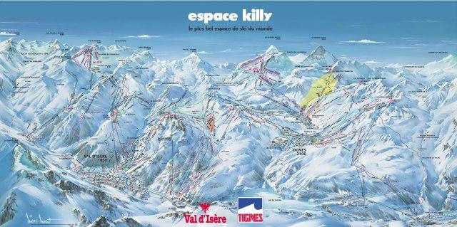Val d'Isere and Tigne Ski Area Map