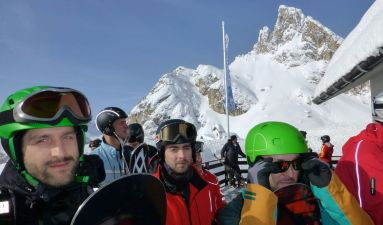 Skiers at entrance to the tram